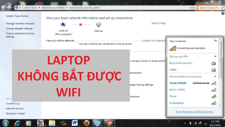 laptop không kết nối được wifi win 7