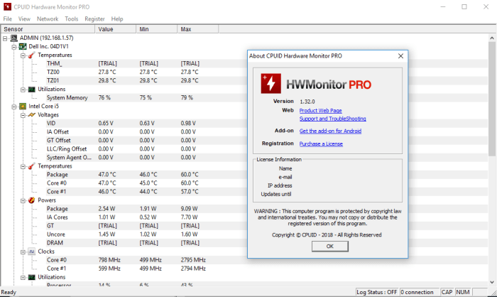 Phần mềm HWMonitor